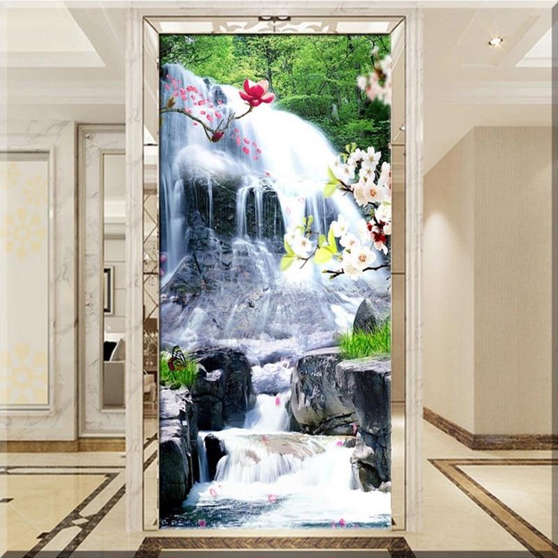 Custom Photo Wallpaper Murals 3D Mountain Water Landscape Waterfall Living Room Restaurant Entrance Wallpaper For Walls Roll
