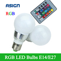 Newest Design Of  The E27 E14 LED RGB Bulb 5W AC85-265V LED RGB Spot Light Dimmable Lighting+IR Remote Control 16 colors