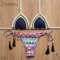 ZTVitality 2017 Summer Beach Brazilian Biquini Knitting Bikini Set Bathing Suit Women Swimwear Women Print Sexy