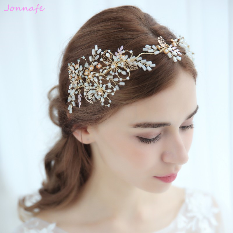 Jonnafe Charming Gold Bridal Headband Tiara Flower ...