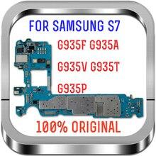 Com sistema android, 100% placas lógicas desbloqueadas originais para samsung galaxy s7 edge g935fd placa mãe com cartão sim duplo