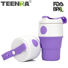 TEENRA 1Pcs 395ml Silicone Folding Coffee Cup Water Cup Collapsible Coffee Cup Protable Coffee Saucers Leak Proof Drinkware