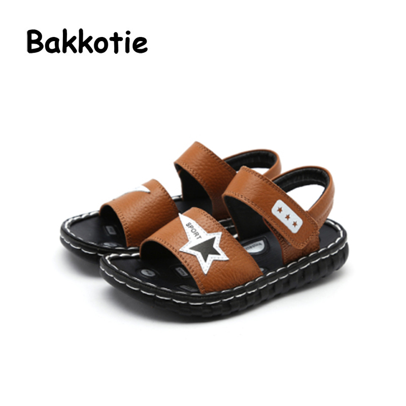 Bakkotie 2018 New Fashion Summer Baby Boy Soft Star Beach Brand Genuine Leather Sandal Child Flats Little Kid Comfortable Shoes