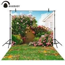 Allenjoy background photography spring courtyard grassland flower door garden backdrop Sunny photozone photo studio Photobooth