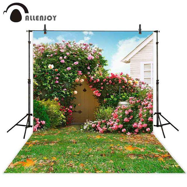 Allenjoy خلفية التصوير الربيع فناء المراعي زهرة باب حديقة خلفية مشمس فوتوزون صور استوديو كشك الصور