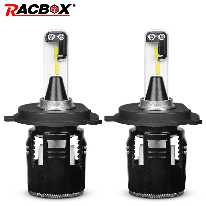 RACBOX Turbine Car LED Headlight Bulbs With CSP Chips H4 Hi Lo Beam H1 H7 H11 9005 9006 HB3 HB4 Light White 6000K LED Auto Lamp ironwalls 2pcs set car headlight cree csp chips 72w hi low beam led driving light auto front fog light for audi toyota honda