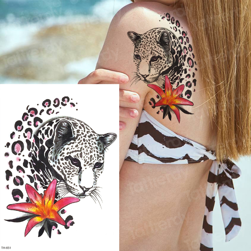 Black Panther Tattoo Temporary Tattoos On The Body Tatoo Girls Leopard Print Temporary Tattoo Animals Women Sexy Tattoo Water
