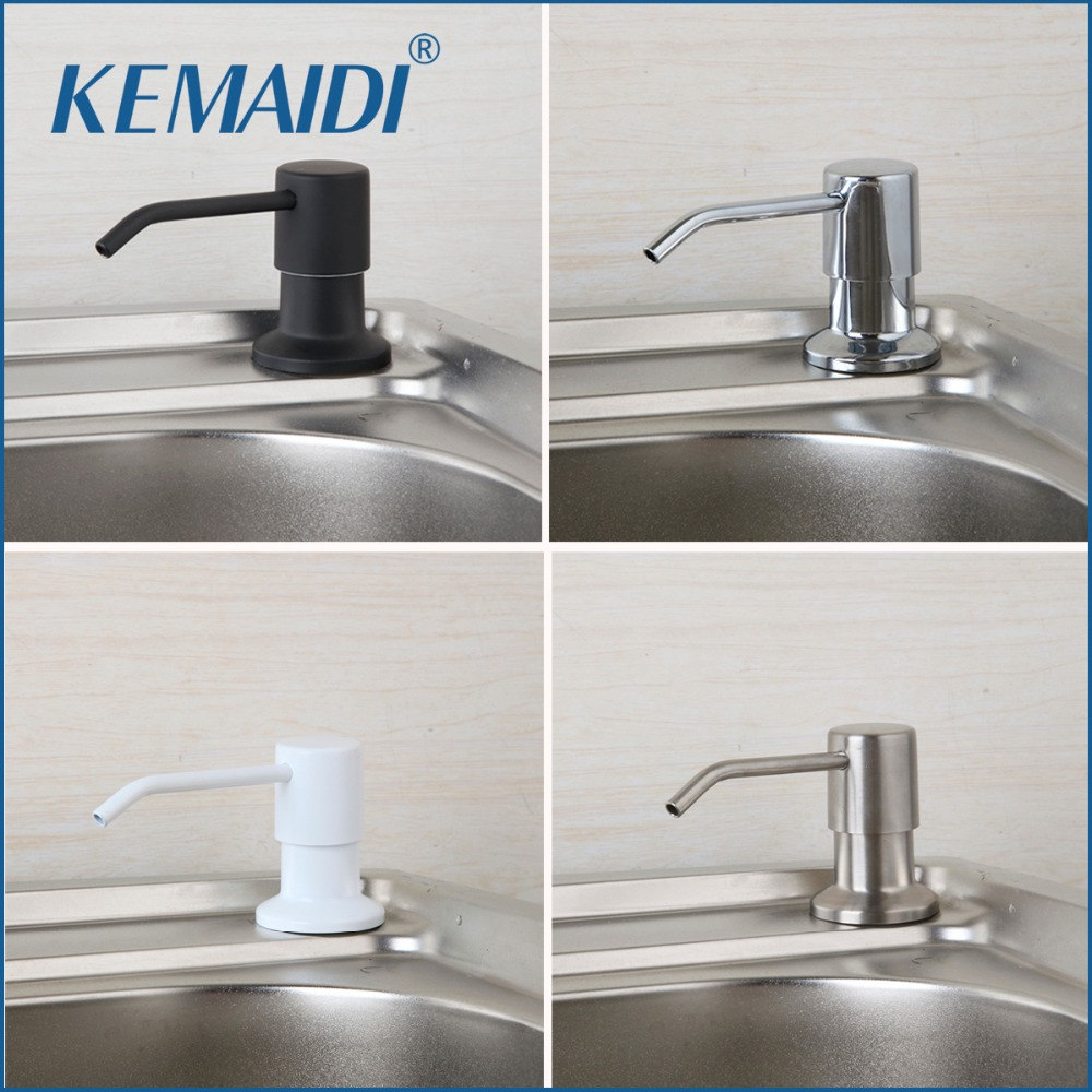 KEMAIDI Contemporain Quatre Choix Chrome et Nickel Brossé Comptoir Vaisselle Liquide Pompe À Main Remplacement Cuisine Évier Distributeur de Savon