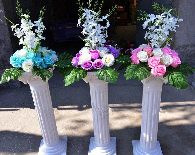 Livraison gratuite colonne romaine blanche avec des ensembles de fleurs de Rose artificielle allée de mariage coureur stade décoration piliers accessoires fournitures - 3