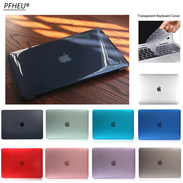 NEW Transparent Crystal Case For Apple Macbook Air Pro Retina 11 12 13 15 Laptop Cover with Touch Bar+Transparent keyboard film