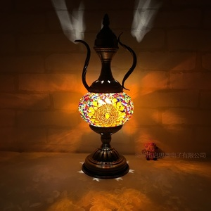 Image 4 - Newest E14 Hand inlaid glass Morocco Style mosaic light bedroom living room decorative Table Lamp Turkish Lampe