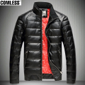 Thicken Winter Jacket Men 2016 New Fashion Men's PU Leather Design Down Coats Jackets Casual Outwear Mens Clothing Plus Size 4XL