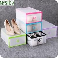 5PCS 2017New Eco Friendly Transparent Shoe Storage Box Plastic PP Rectangle Makeup Organizer Boxes Case Glossy