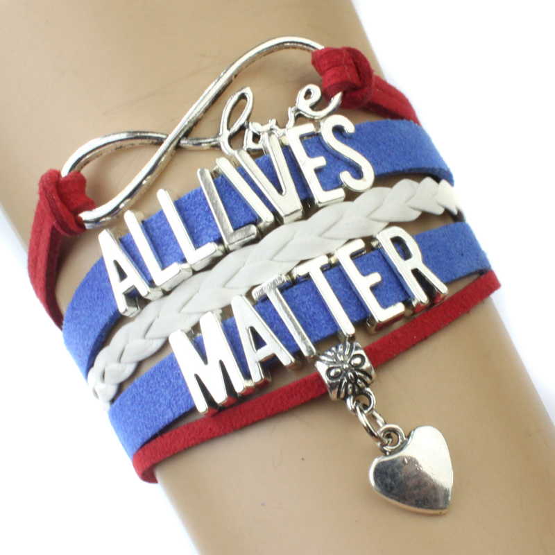 Infinity Love All Lives Matter Multilayer Wrap Bracelets Heart Charms Blue Red White Leather Cuff Wrist Band
