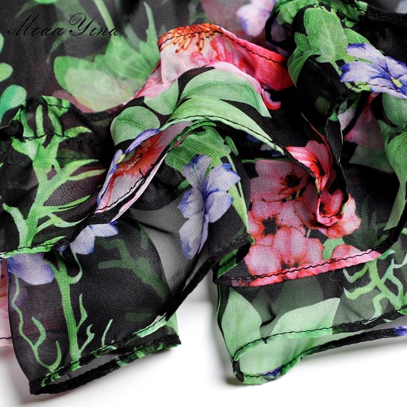 Femmes Robe Élastique Taille Lanterne Floral Mode Piste De Gâteau Printemps Multi Imprimé Manches Ruches Bohême Été Moaayina Élégant wIBxOqzRA