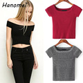 New Slash Neck Off The Shoulder Tops Knitted Ribbed T-shirts For Women 2017 Slim Tees Crop Top Short Sleeve Cotton T Shirt C22