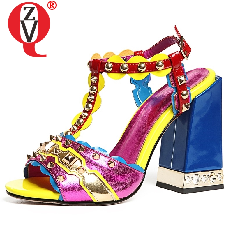 ZVQ Marke hohe qualität Schaffell leder frauen sandalen Sommer punk verzierte gothic süße mädchen super high heels schuhe plus größe-in Hohe Absätze aus Schuhe bei  Gruppe 1