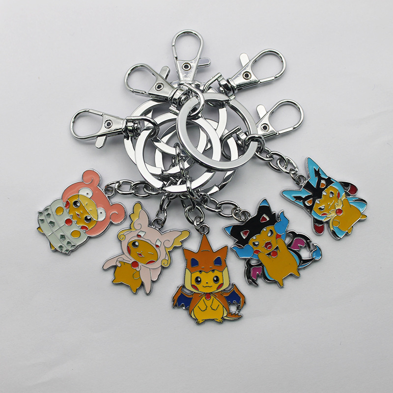 2016 New cartoon anime figures toys Pikachu Cosplay Charmander Key Chains Pendants kids cute kawaii toys Christmas gifts image
