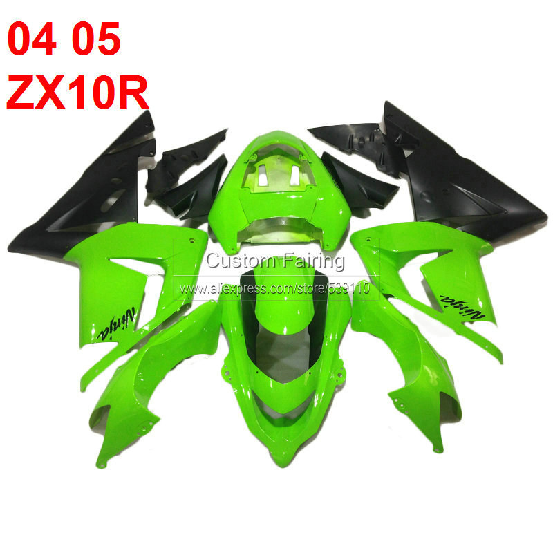 ABS plastic fairings for Kawasaki ZX10R Ninja zx 10r 2004 2005 green black 04 05 fairing kit xl84 abs plastic fairings for kawasaki ninja zx6r 2005 2006 green black motorcycle fairing kit zx6r 05 06 ty32