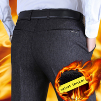 Mens Suit Pants Autumn Winter Business Casual Straight Classical Dress Pants Male Plus Velvet Thicken Loose