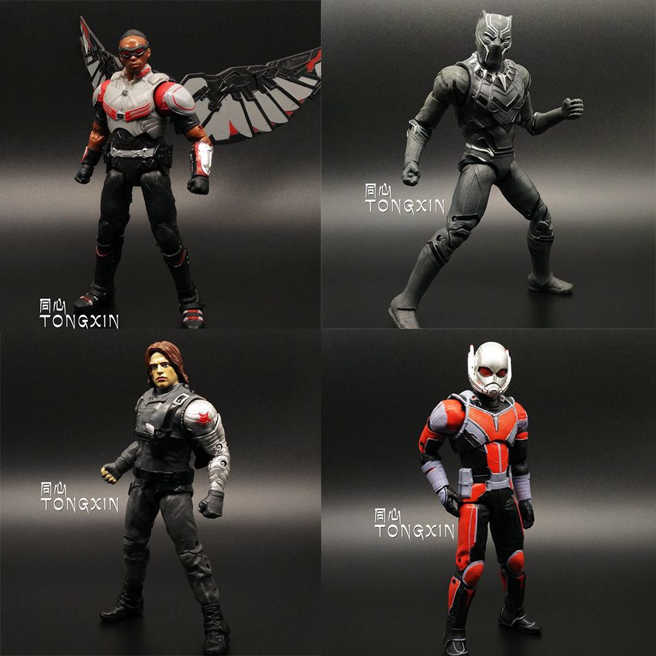 SAINTGI Captain America 3 Falcon Black Panther Winter Soldier Ant Man Civil War Avengers MARVEL Movable PVC 17cm Action Figure