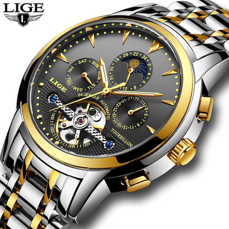 Mens Watches LIGE Top Brand Men's Tourbillon Automatic Mechanical Watch Men Fashion Business Waterproof Watch Relogio Masculino