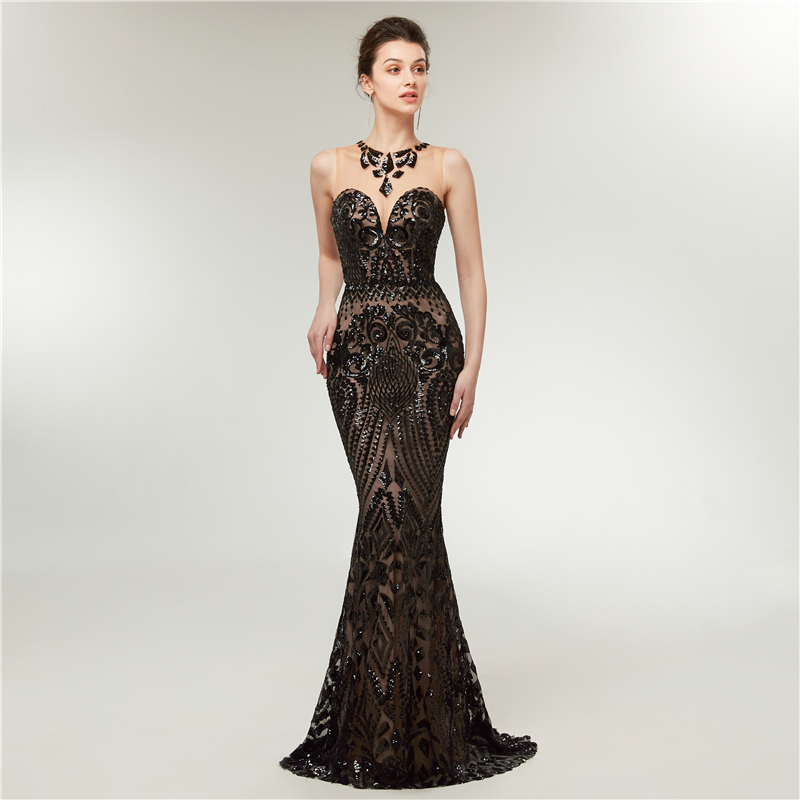 Black Sequined Mermaid Evening Dresses 2019 Elegant Sleeveless Floor Length Long Robe De Soiree Formal Party Illusion Prom Gowns in Evening Dresses from Weddings Events