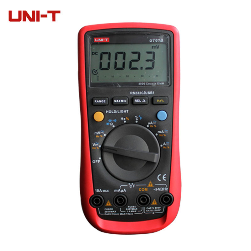 UNI-T UT61B Modern Digital Multimeters Voltage Current Multi Tester C/F Thermometer with Temperature Probe uni t ut61b modern digital multimeters 3999 count auto power off temperature tester lcd backlight