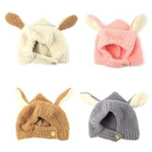Newborn Infant Baby Winter Thicken Faux Fleece Stitching Guard Cap Cute Long Rabbit Ears Warmer Contrast Color Beanie Hat(China)