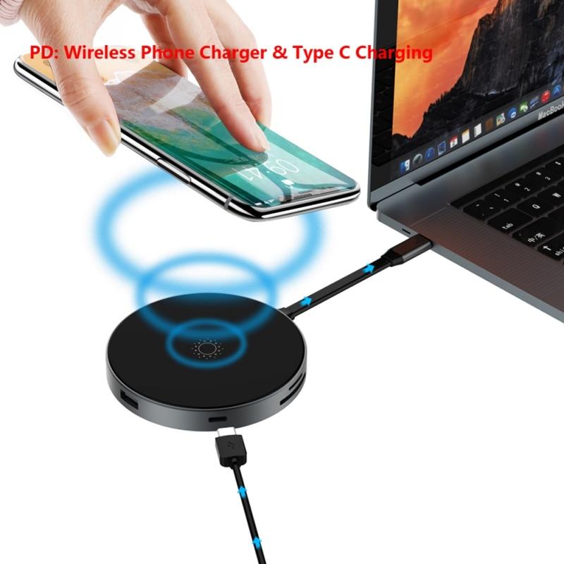 Adaptateur de moyeu de USB C multifonction Portable 4 K sortie HDMI chargeur sans fil QI type-c lecteur de carte SD/TF