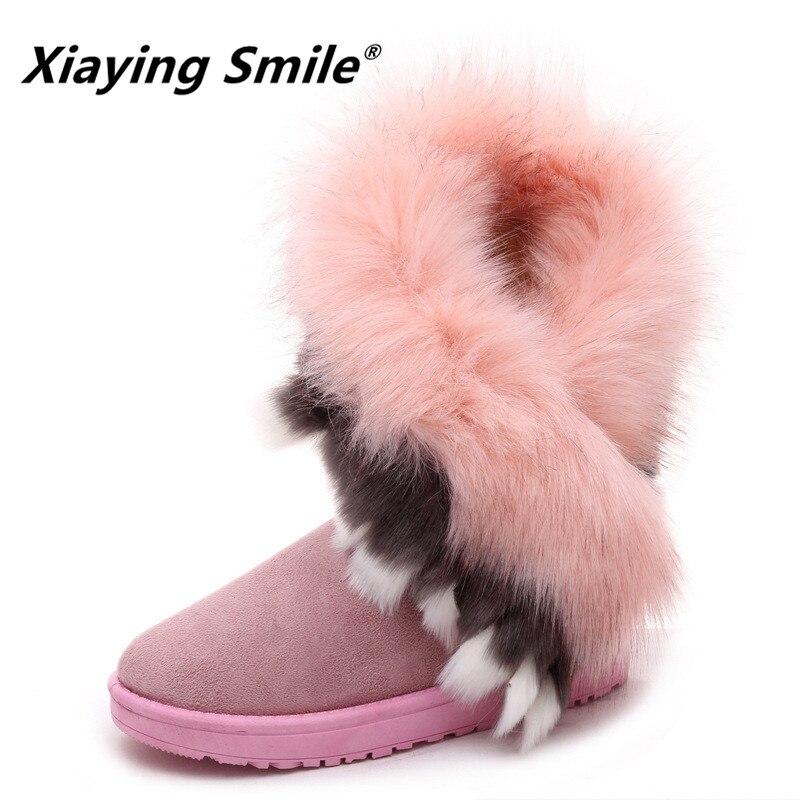 Xiaying Sourire Hiver Femmes Bottes de Neige Chaud Antieskid Mi-mollet Bottes Plate-Forme Glissement de la sangle Sur Appartements Casual Femmes Flock Caoutchouc chaussures