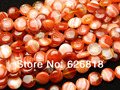Free shipping (2 strands/set) natural 12mm red onyx agate beads flat round druzy stone