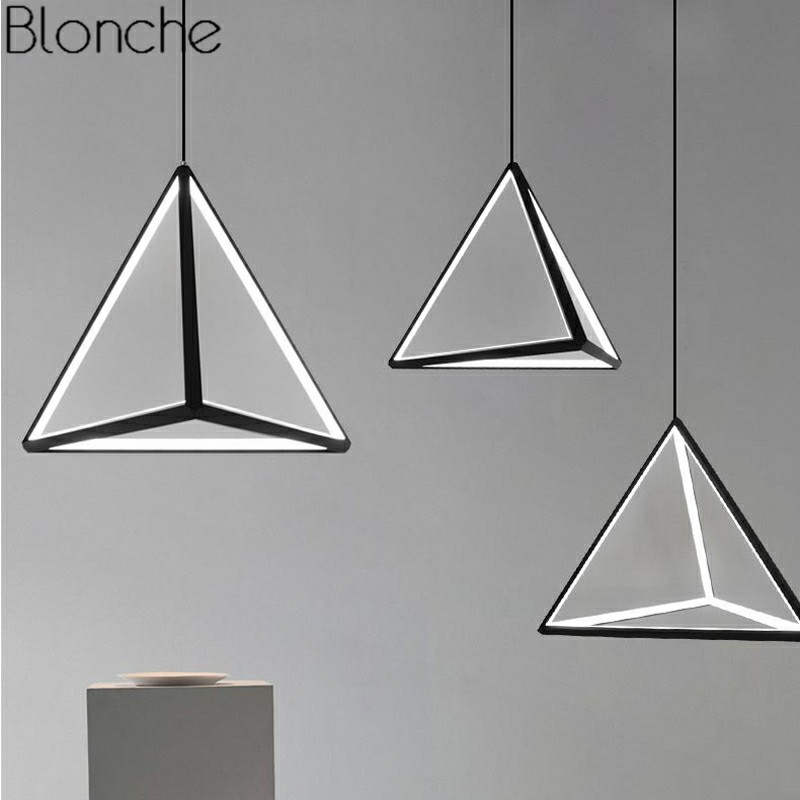 Nordic Pendant Lights Modern LED Art Hanging Lamp For Living Room Home Decor Kitchen Loft Luminaire Industrial Triangle Fixtures