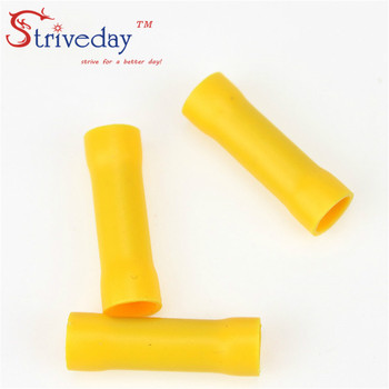 500pcs/lot BV5 Yellow Flared Butt Insulated Connector Terminals Crimp
