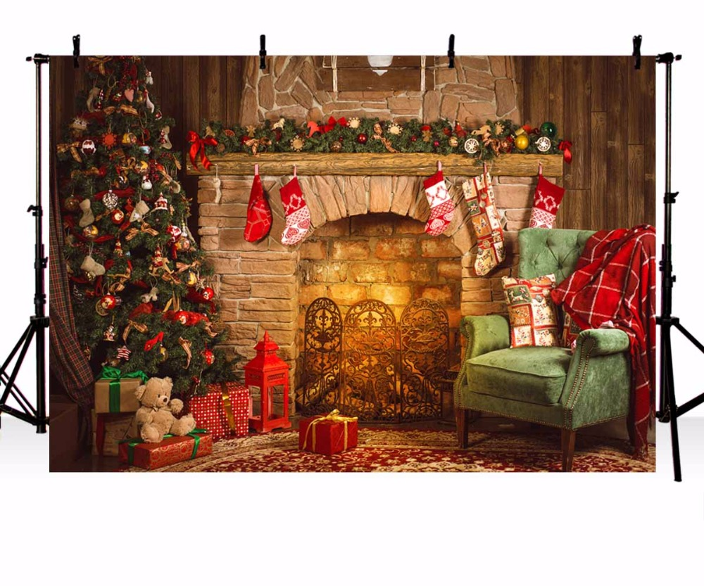 Vinyl Photography Backdrop Christmas tree Fireplace Beer Gifts ...
