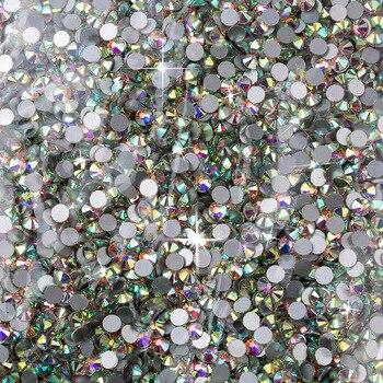 Wholesale SS3-SS40 1440-14400PCS/PACKS Crystal AB 3D Nail Art Decoration rhinestones glue on flatback Clothing rhinestone 6