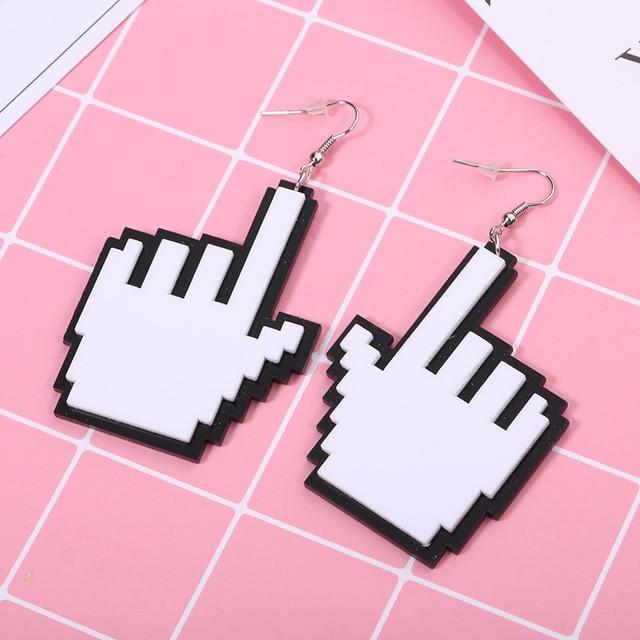 2 par/lote acessórios de moda jóias white & black acrílico corte a laser cursor do mouse em forma de mão oscila brincos grandes para as mulheres