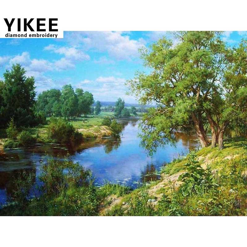 YIKEE 풍경 십자가 스티치, diy, 5d, 라인 석 그림, 다이아몬드 자 수 나무