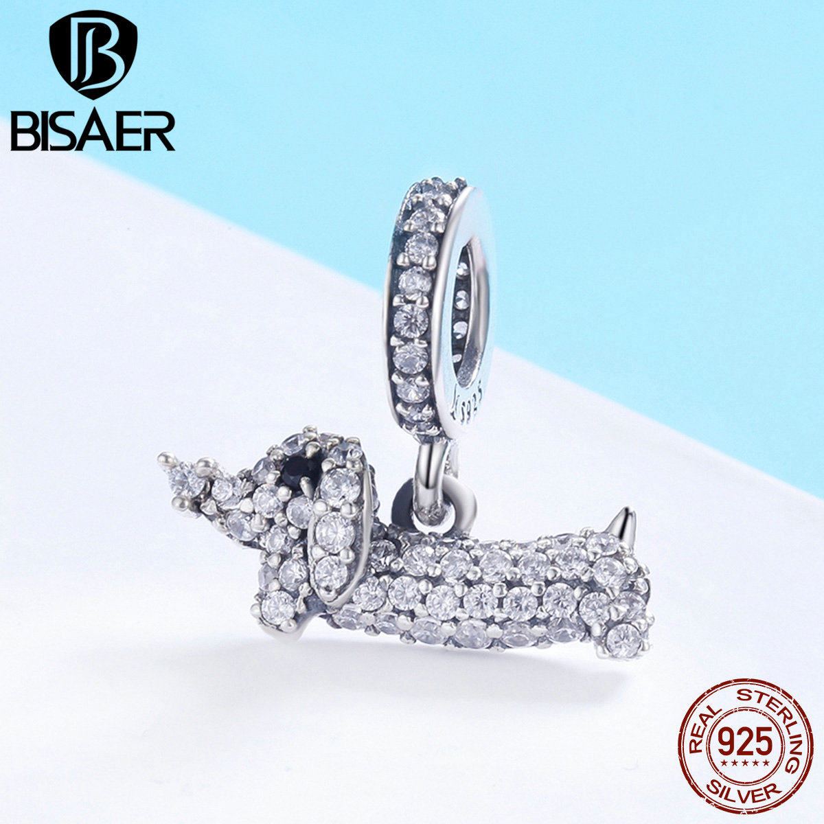 BISAER Charms 925 Sterling Silver Crystal Dachshund Charms CZ Dog Animal Pendant Beads Fit for Bracelets DIY Jewelry MakingBISAER Charms 925 Sterling Silver Crystal Dachshund Charms CZ Dog Animal Pendant Beads Fit for Bracelets DIY Jewelry Making