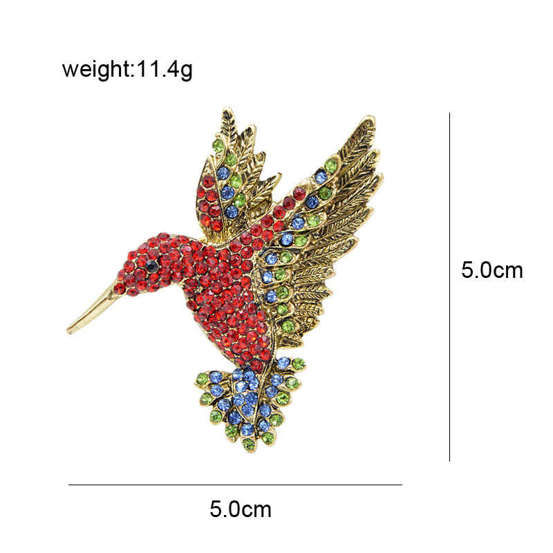 CINDY XIANG Red Color Rhinestone Hummingbird Brooches for Women Cute Bird Style Jewelry Animal Brooch Pin High Quality Good Gift