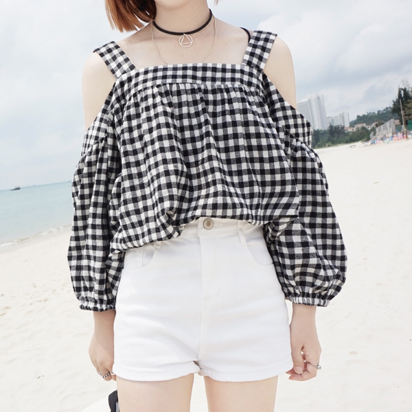 2016 New Arrive Women Summer Singlet Blouses Shirts Off Shoulder Plaid Straps Beach Tops Woman Fashion Stylish Blouse Shirt Top
