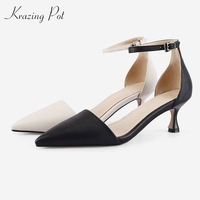 Krazing Pot genuine leather streetwear pointed toe summer ankle straps online star rivets sunshine lady banquet party pumps L51