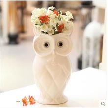 white coruja ceramica owl home decor Owl flower vase pot handicraft crafts room decoration porcelain animal figurine