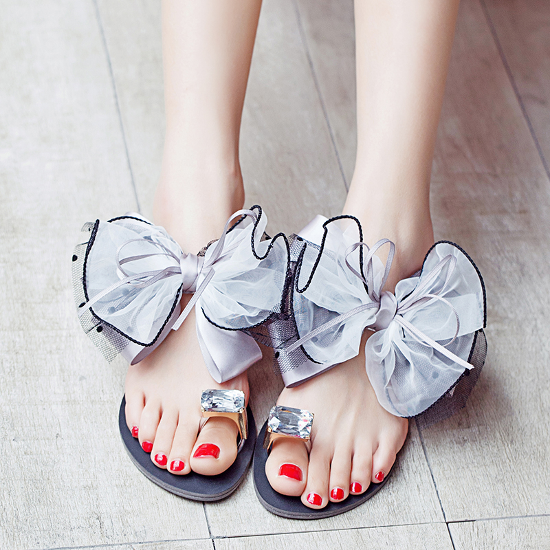 Big Size 35-42 Women Flower Jelly Sandals Crystal Bow Flat Slippers Summer Shoes Beach Flip-Flops For Women Clip Toe Sandales  big toe sandal