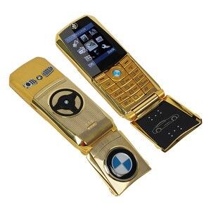 "Image 3 - Mosthink W760 Flip Mobile Phone Dual SIM Cards 1.77"" Mini Metal Body Car style Camera Single Core Button Russian Keyboard Phone"