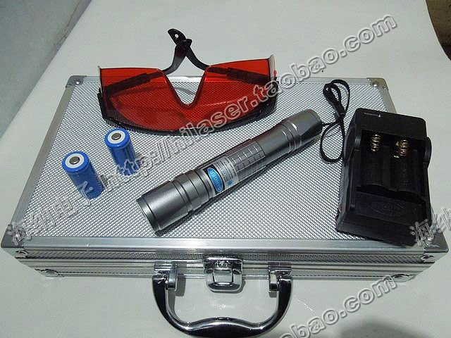 high power blue laser pointer 80000mw 80w 445nm 450nm burning match/paper/dry wood/candle/black/5 caps+glasses+changer+gift box