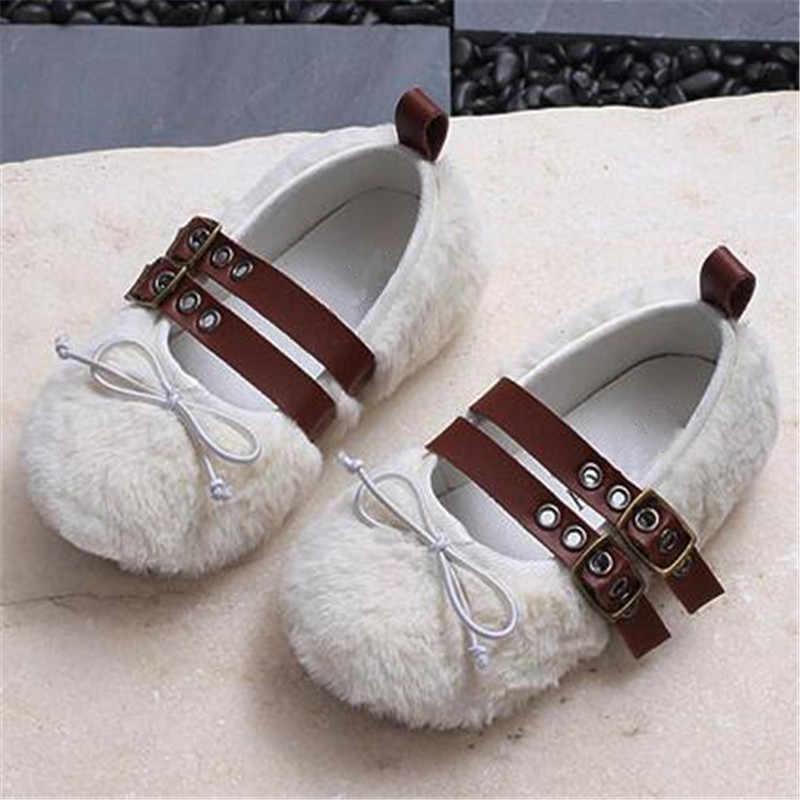 Детские мокасины с бантом и кроличьим мехом; белые туфли принцессы на мягкой подошве; износостойкая детская обувь; лоферы; размеры 21-30
