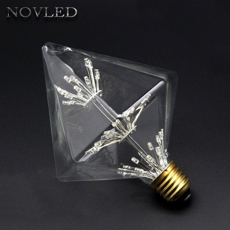 Home Lighting LED Bulb 3W Christmas Festival Decorative 220V Bulb E27 Copper Wire Light Quadrangle Copper Line Diamond Lamp