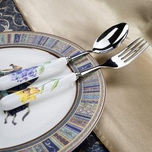 Image 2 - 24個ステンレス鋼食器セット高級銀器食器西洋鏡面研磨カトラリーセットのギフトボックスパーティー