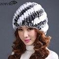 Más nuevas Mujeres Moda Real de Punto de Piel de Conejo Rex Sombreros de Señora Winter Warm Encanto Gorros Gorras Mujer Sombrerería